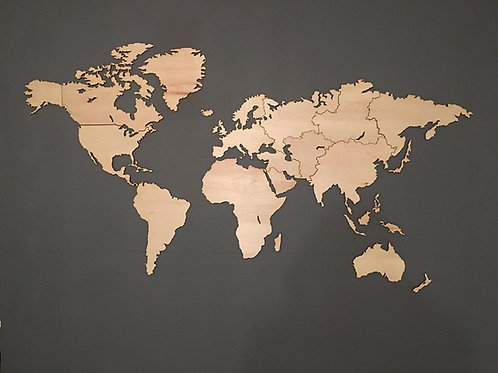Wooden Travel Map World Blank