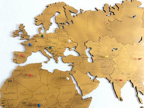 Wooden Travel Map World - Sahara