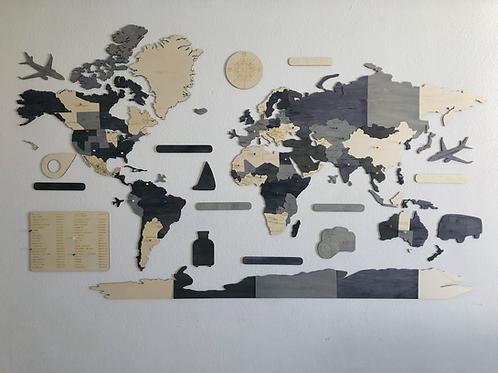 Wooden Travel Map World Superstar Elegance