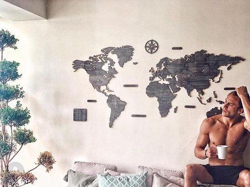 Wooden Travel Map World - Luxury Black