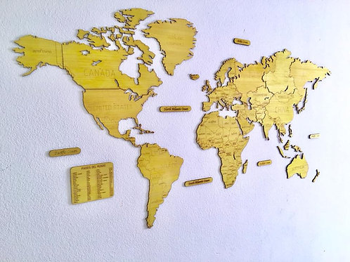 Wooden Travel Map World - Exotic