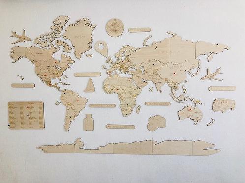 Wooden Travel Map World Superstar Natural