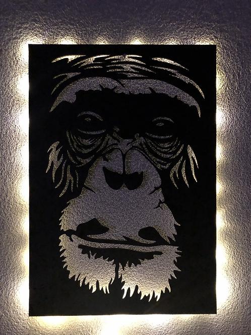 Cuadro Gorilla con luz led