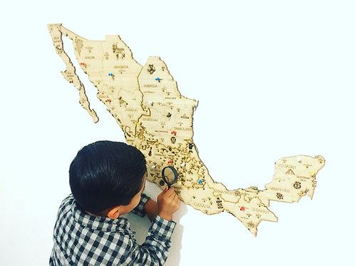 Wooden TM Pueblos Mágicos México Mini y Mapa Mundo