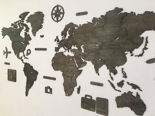 Wooden Travel Map World -Grafito