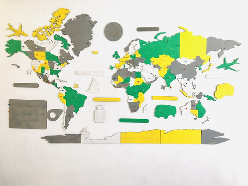 Wooden Travel Map World Superstar Spring