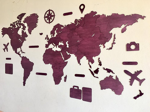 Wooden Travel Map World - Royal
