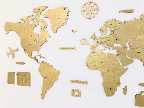 Wooden Travel Map World - Gold Limited Edition