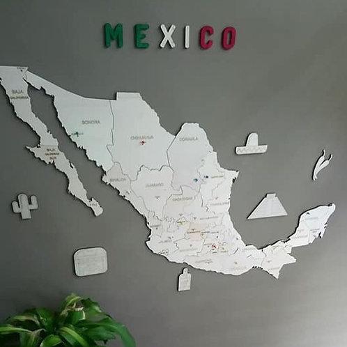 Wooden Travel Map México