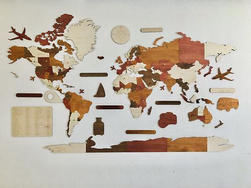 Wooden Travel Map World Superstar Vintage