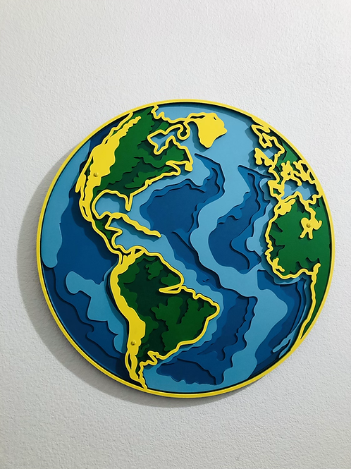 Cuadro Mundo 3D Multicapas
