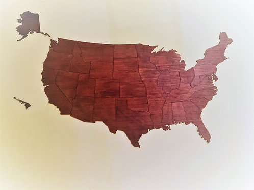 Wooden Travel Map USA - Color Caoba