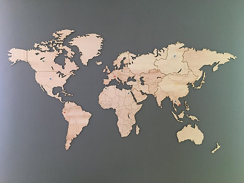 Wooden Travel Map World Borders