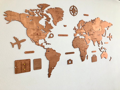 Wooden Travel Map World - Copper Limited Edition