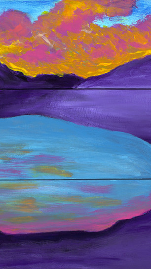 Sachs, Karen - Purple Mountain Majesty - Acrylic on Three Canvases - 12 Inches x 12 Inches