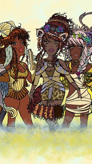 Gibson, Dana _Blackbodymother_ - Biofeelia Goddesses of Ether - Digital Print on Canvas -
