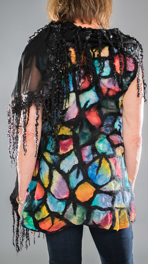 Barker, Patti - Stained Glass Tunic With Black Boa - Nuno Felt - 26 Inches x 13 Inches - $