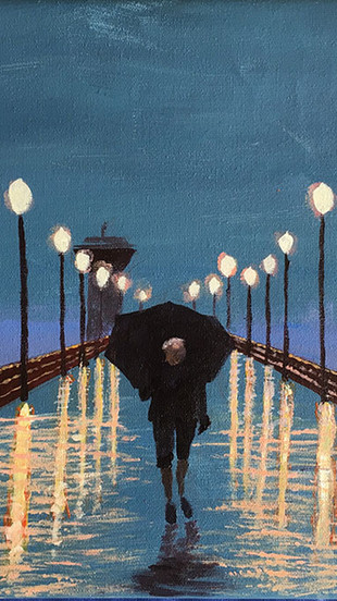Franciewicz, Kelly - Rainy Night Alone - Acrylic on Canvas - 16 Inches x 19 Inches (includ