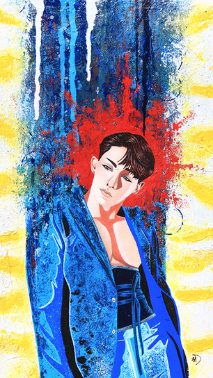 Black Monet - Perfect Blue - Mixed Media on Watercolor Paper - 11 Inches x 14 Inches - $5,