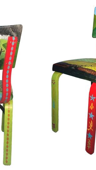 Spiro, Karen - American Gothic Chair - Upcycled Thonet Chair, Canvas, Acrylic, Polyurethan