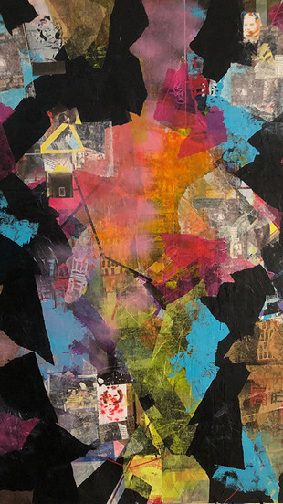 Kalish, Cecilia - 3 Sisters with 3 Strangers - Mixed Media on Canvas - 48 Inches x 36 Inch