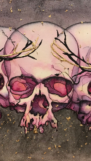 Holguin, Antonio - Lies Greed Misery - Watercolor, Ink and Gold Leaf on Paper - 10 Inches
