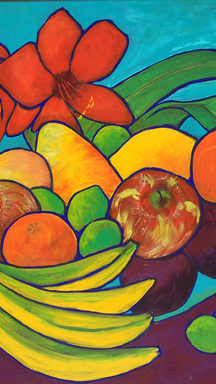 Frankiewicz, Kelly - Amaryllis and Fruit - Acrylic on Canvas - 26 Inches x 26 Inches - $22