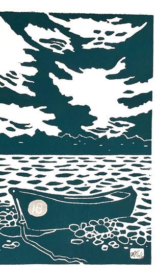 Silva, David - Catalina Island - Linocut Block Print on Paper - 9 Inches x 12 Inches - $16