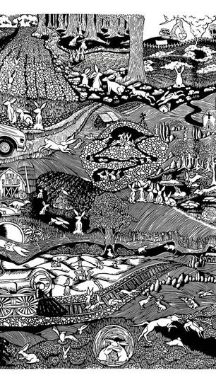 Bogdal, Sarah - The Warren - Linoleum Print on Paper - 24 Inches x 18 Inches - $650.jpg
