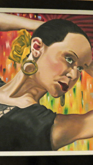 Varela, Samantha - Fan Lady - Oils on Canvas-Specialty Framing - 23.25 Inches x 19.25 Inch