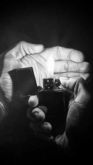 Hager, Nick - Can I Get a Light_ - Oil - 36 Inches x 24 Inches - $400.jpg