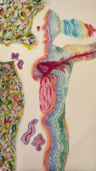 Hoffman, Ethan - Self Portrait _Bliss Thru Divine Unity_ - Mixed Media on Canvas - 48 Inch