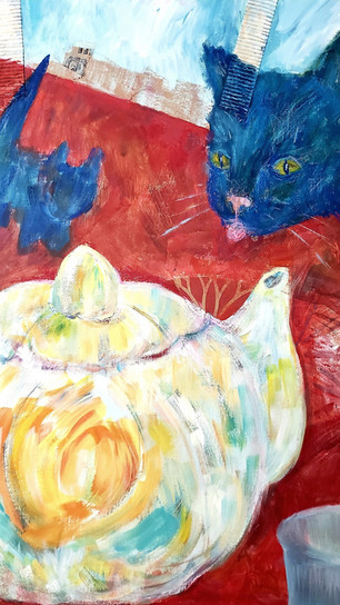 Urodovskikh, Zhanna - Tea Party With Cats #1 - Acrylic, Collage - 24 Inches x 18 Inches -