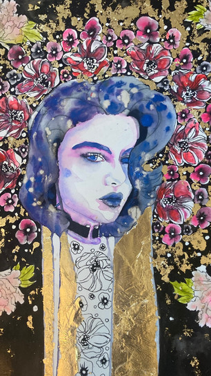 Amiro, Adrian - Garden of Delight - Watercolor, Ink, Gold Leaf - 24 Inches x 18 Inches - $