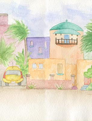 Halcromb, Kristina - Home in Aruba - Watercolor - 5 Inches x 16 Inches - $865.jpg