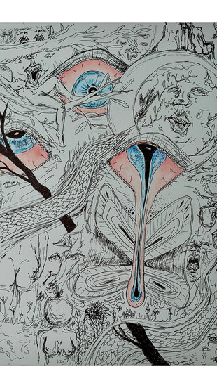 Peacock, Emily - Dissociation - Ink and Colored Pencil on Paper - 9 Inches x 12 Inches - $