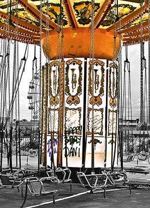 Goulekas (KEG), Karen E - Cancelled Carousel - Bamboo Block Print - 24 Inches x 36 Inches