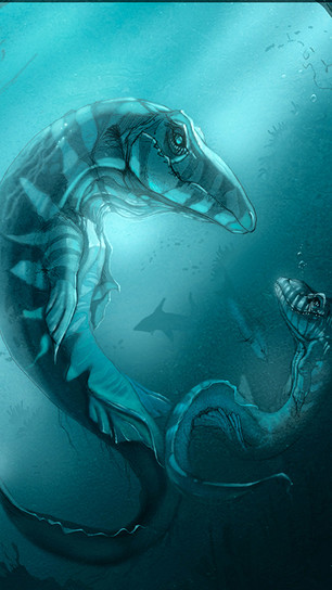 Holbrook, Damarcus - Mosasaur Momma Baby Girl - Art Rage-Air Brush and Ink Pen - 12 Inches
