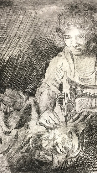 Gereghty, Hope - Mother Mending - Drypoint Etching, Oil Based Ink on Paper, Artist Proof -