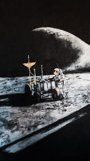 Huh, Joanne - Fly Me to the Moon 1_ Apollo Mission - Acrylic on Canvas - 48 Inches x 48 In