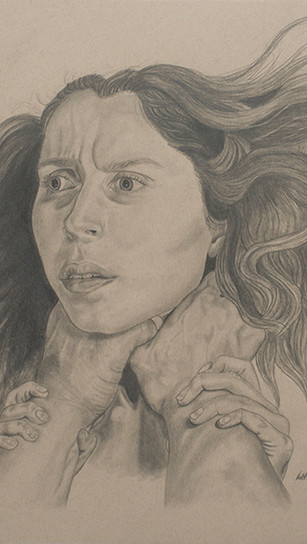 Hatrak, Rebekah - Asphyxiate - Graphite on Toned Tan Paper - 18 Inches x 24 Inches - $300.