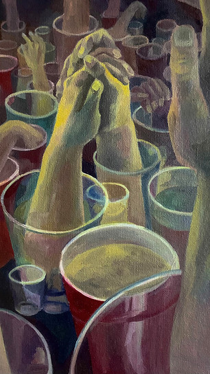 Wang, Emily - 1 AM at a College Party - Oil Paint on Canvas - 30 Inches x 24 Inches - NFS.