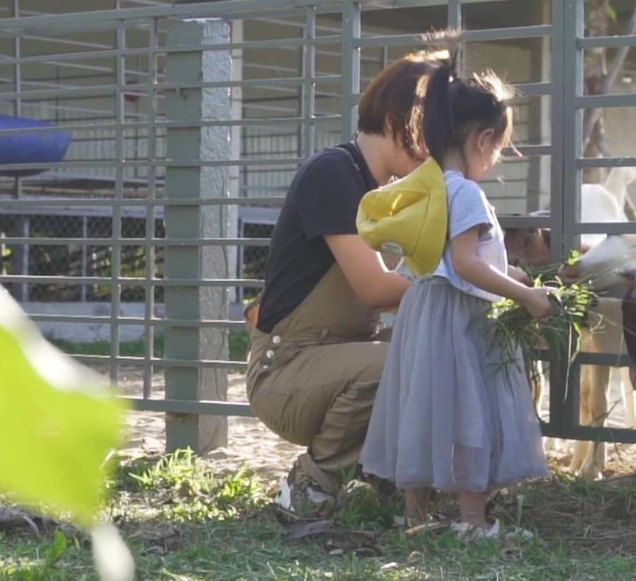 Mẹ và bé cùng cho dê ăn cỏ