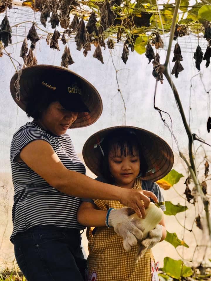 Mẹ và bé cùng thu hoạch hoa bí