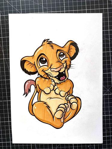 BABY SIMBA - Original Zeichnung - adrian.double.u