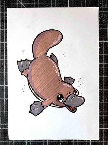 SCHNABELTIER- Original Zeichnung - adrian.double.u