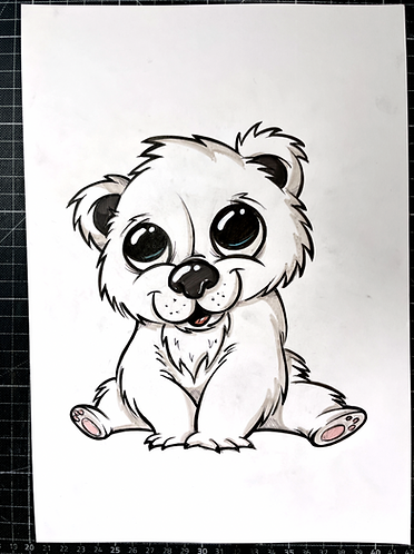 Baby Eisbär  - Original Zeichnung - adrian.double.u