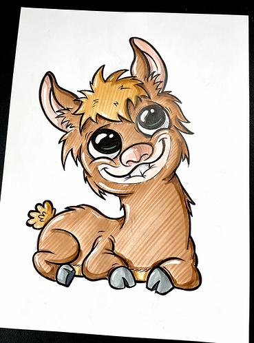 Baby Lama - Original Zeichnung - adrian.double.u