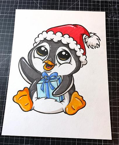 X-MAS PINGUIN - Original Zeichnung - adrian.double.u