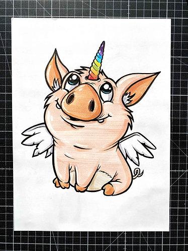 Schweinhorn - Original Zeichnung - adrian.double.u